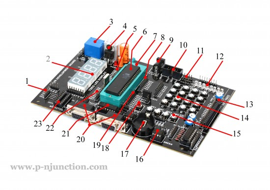 AVR development board components